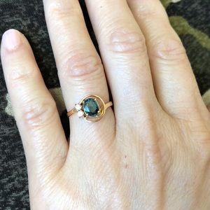 14K Solid Gold Oval Sapphire ring